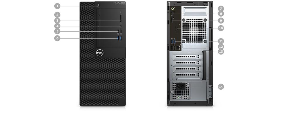 Description: Optiplex 3050 Máy tính để bàn - Cổng & Khe - Tháp